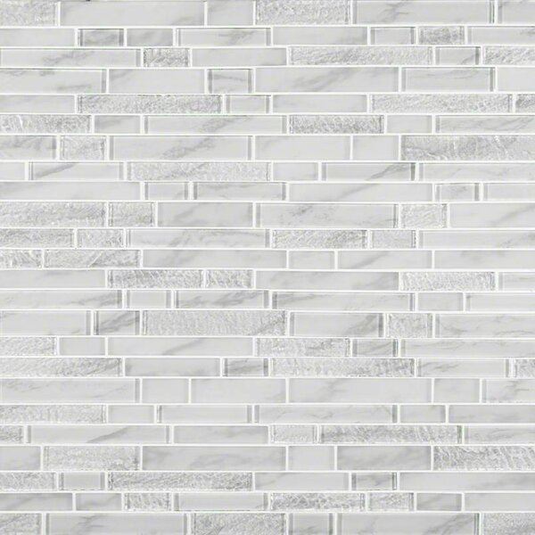 Calypso Interlocking Pattern Random Sized Glass Mosaic Tile in White by MSI
