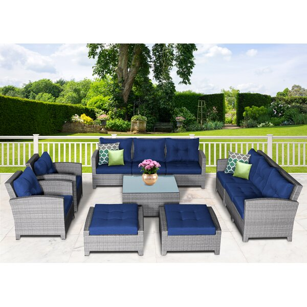 Dowdy 11 Piece Rattan Sectional Seating Group With Cushions By Rosecliff Heights
