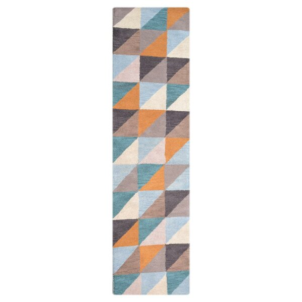Creager Hand-Tufted Wool Blue/Orange/Brown Area Rug by Wrought Studio