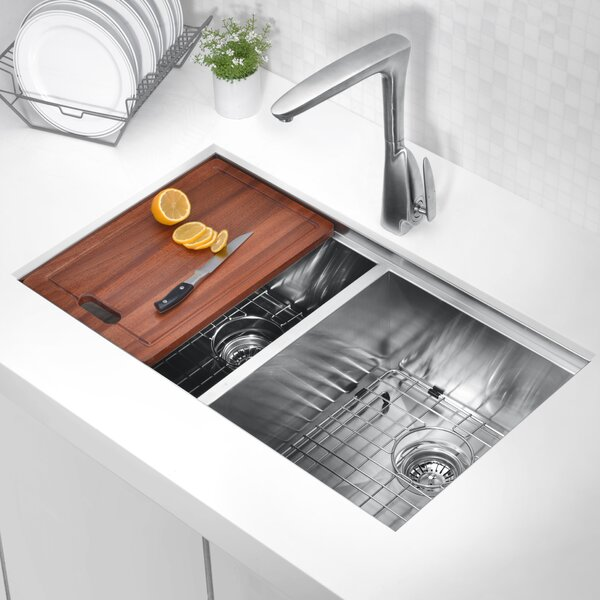 Aegis 33 L x 19 W Double Basin Undermount Kitchen Sink with Cutting Board and Colander by ANZZI