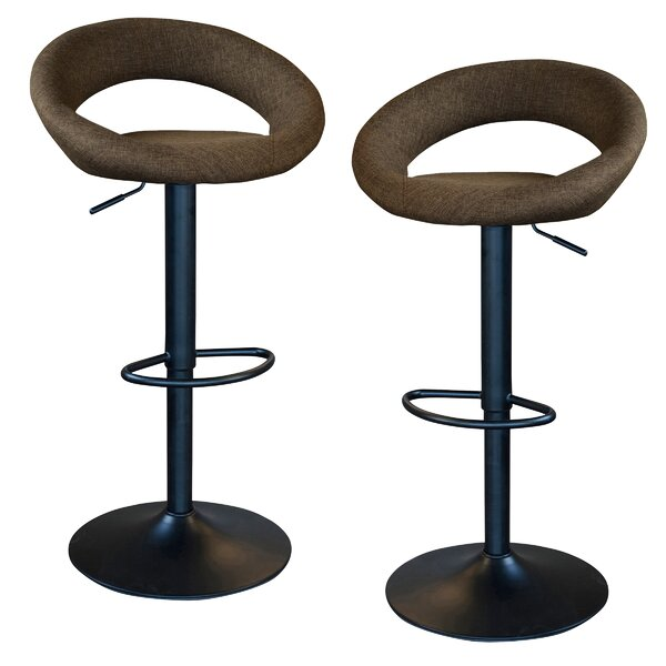 Classic Fabric Adjustable Height Swivel Bar Stool (Set of 2) by AmeriHome