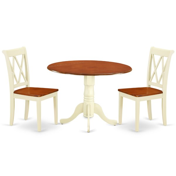Kroeker 3 Piece Drop Leaf Solid Wood Dining Set by August Grove