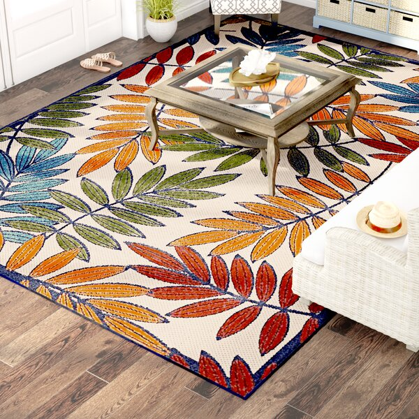 Farley Beige/Green Indoor/Outdoor Area Rug by Beachcrest Home
