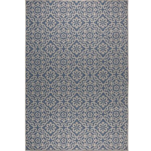 Tiled Blue/Gray Indoor/Outdoor Area Rug by Nicole Miller