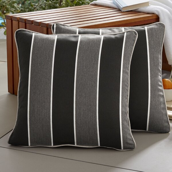 Coyan Sunbrella Peyton Granite Outdoor Throw Pillow (Set of 2) by Red Barrel Studio