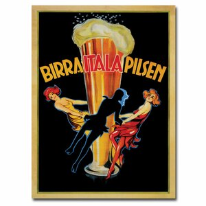 'Birra Itala Pilsen' Framed Vintage Advertisement on Wrapped Canvas by Trademark Fine Art
