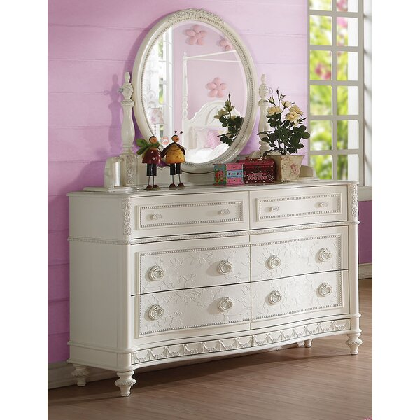 Nevada 6 Drawer Double Dresser with Mirror by Rosdorf Park