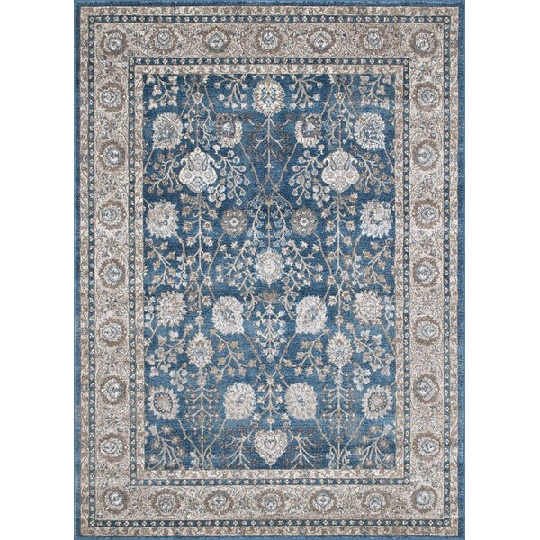 Berneen Traditional Floral Ocean Blue Area Rug by Darby Home Co