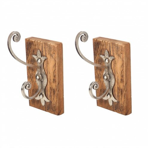 Reclaimed Wood and Metal Hooks (Set of 2) by August Grove