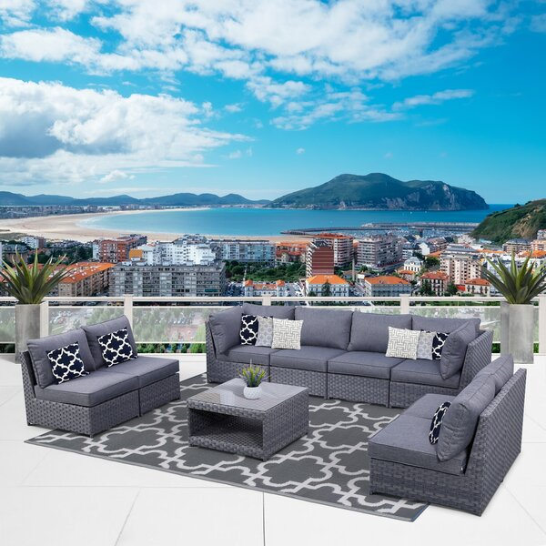 Palko 9 Piece Rattan Sofa Seating Group with Cushions by Highland Dunes