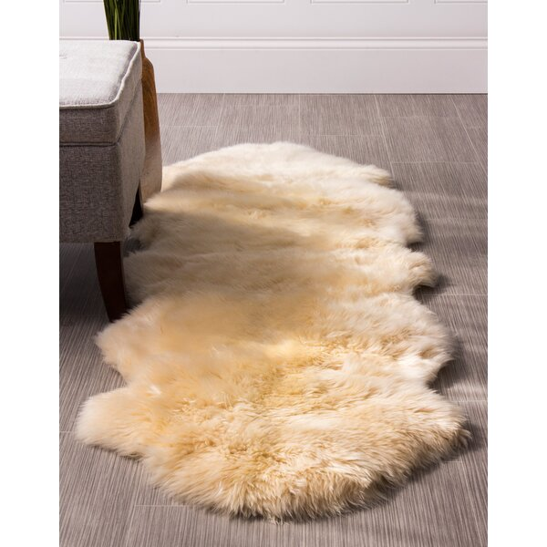 Moquin Genuine Fur Double Pelt Handmade Shag Sheepskin Champagne Area Rug by Bloomsbury Market