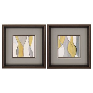 'Tranquil Coalescence' 2 Piece Framed Painting Print Set by George Oliver