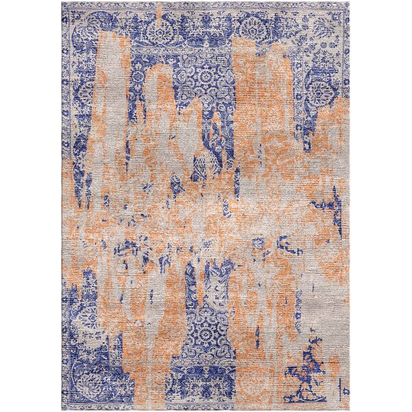 Aliza Handloom Blue/Terracotta Area Rug by Bungalow Rose