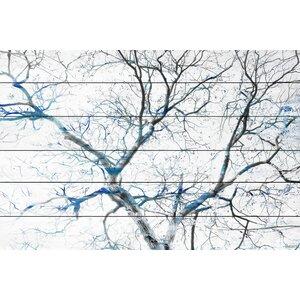 'Blue Branches' by Parvez Taj Painting Print on White Wood by Parvez Taj