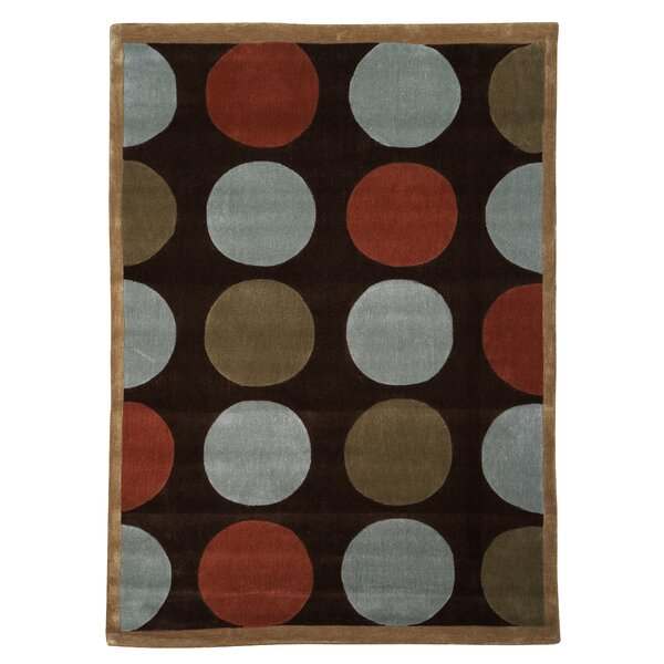 Beaded Geometric Hand-Tufted Brown Area Rug by Ebern Designs