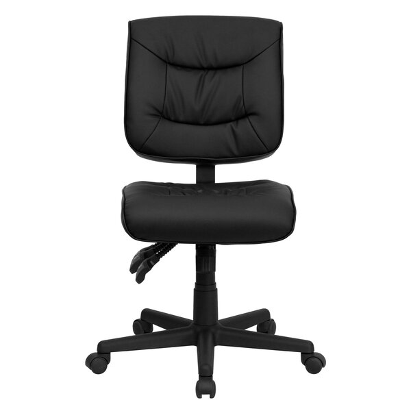 Embroidered Mid-Back Black Multifunction Swivel Ergonomic Task Chair