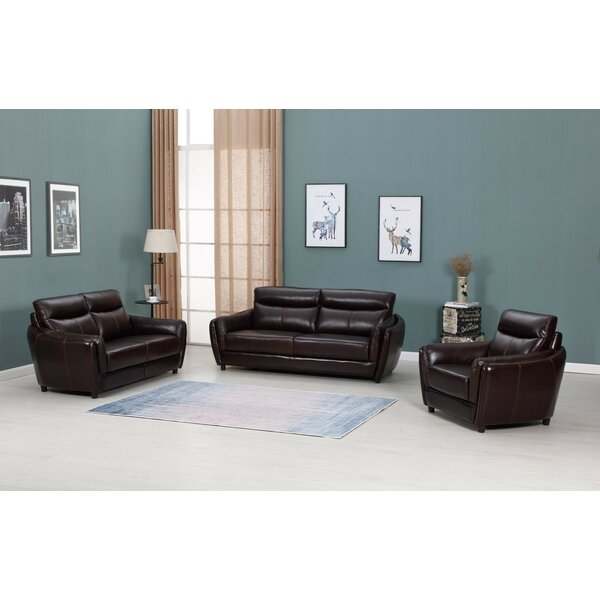 Irons Top Grain Leather 3-Piece Living Room Set (Set of 3) by Red Barrel Studio