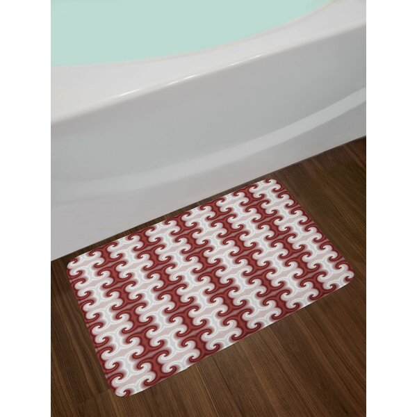 Beige Red Psychedelic Bath Rug by East Urban Home