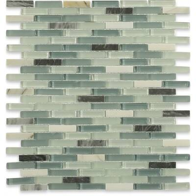 Cleveland 0 5 X 1 Gl Marble Mosaic Tile In Frosted Seafoam Green