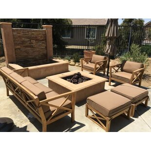 LA 5 Piece Teak Sunbrella Sofa Set with Cushions By Trijaya Living