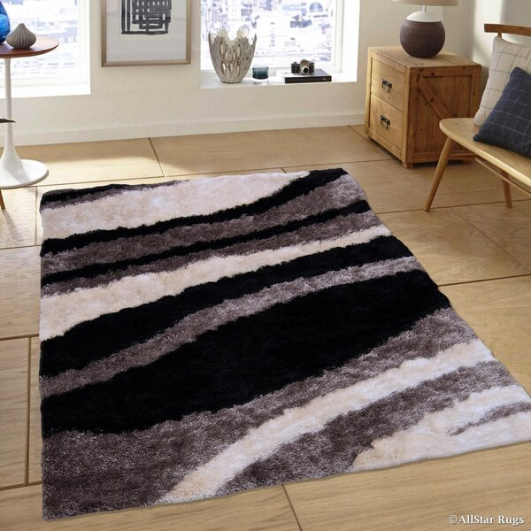 Hand-Tufted Gray/Black Area Rug by AllStar Rugs