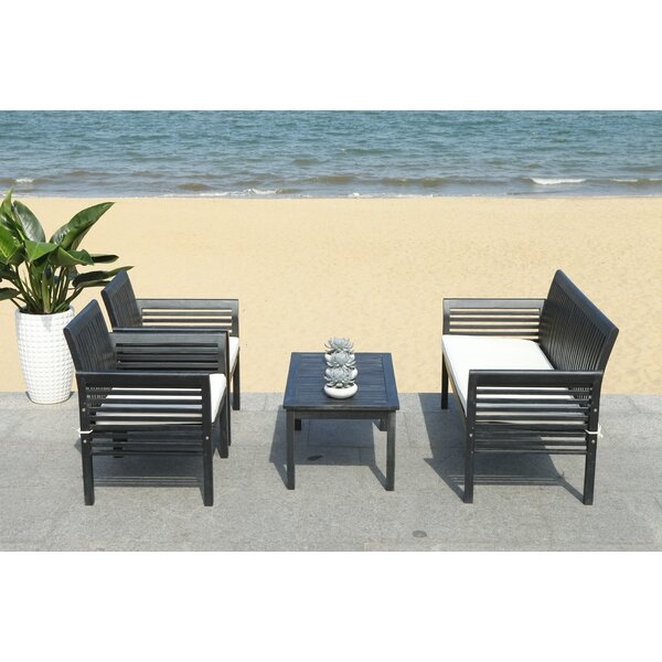 Behr Outdoor 4 Piece Sofa Seating Group with Cushi