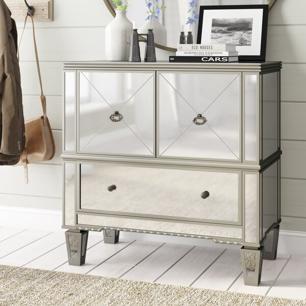 Sascha Mirrored 3 Drawer Accent Cabinet by Rosdorf Park Rosdorf Park