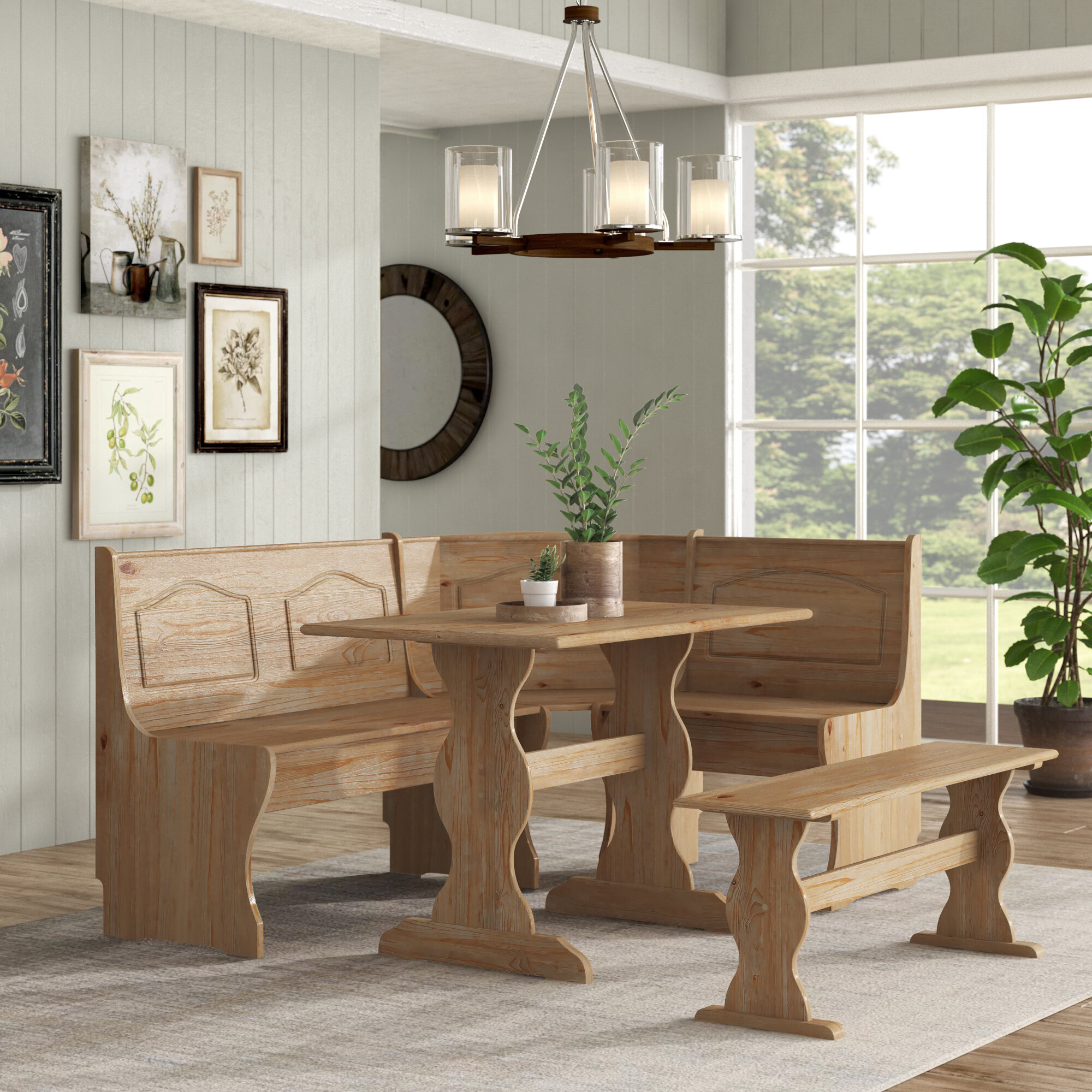 Picture of: Breakfast Kitchen Nook Solid Wood Seat Dining Corner Bench Chelsea Cushion Set Dining Sets