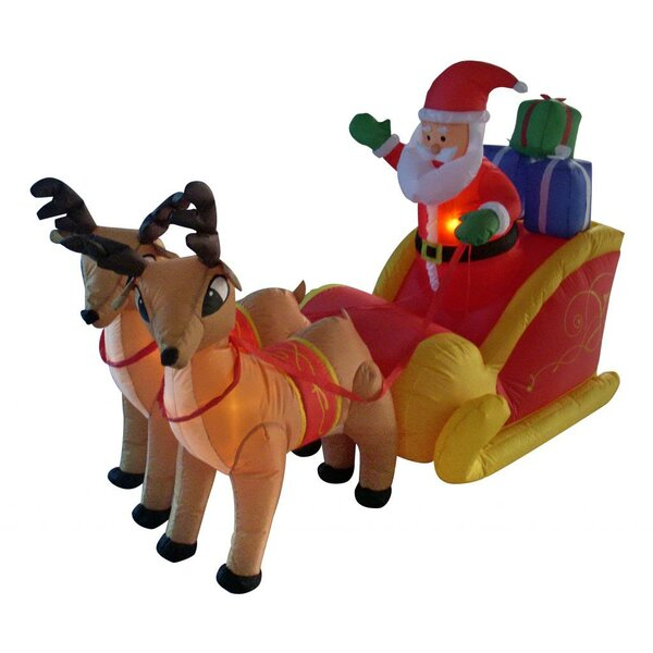 6 ft. Long Santa Sleigh with Two Reindeer Decorati