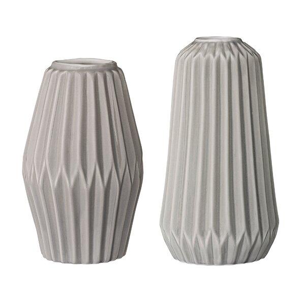 Reuben 2 Piece Ceramic Fluted Vase Set by Langley Street