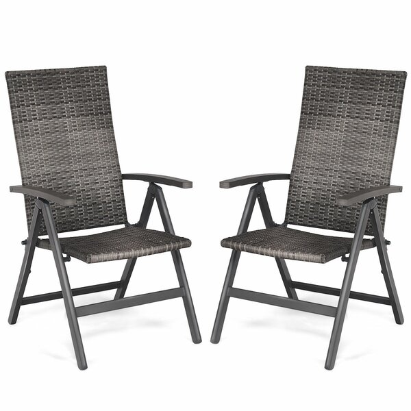 Sunburst Folding Patio Dining Chair (Set Of 2) By Highland Dunes