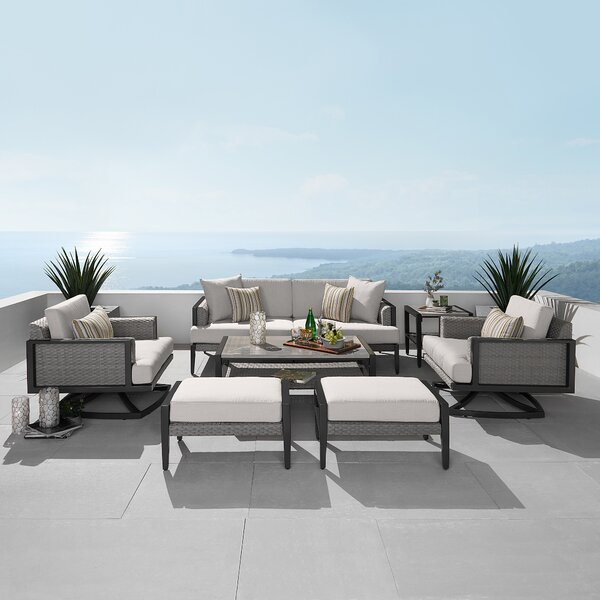 Shoreview 7 Piece Rattan Sofa Seating Group with Sunbrella Cushions Brayden Studio W000361888