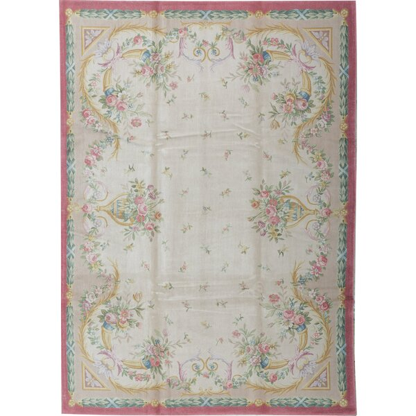 Oriental Hand-Knotted 10.1' x 14.2' Wool Beige/Rose Area Rug