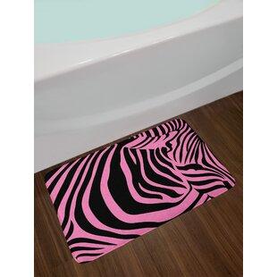 Vibrant Pink Zebra Bath Rug