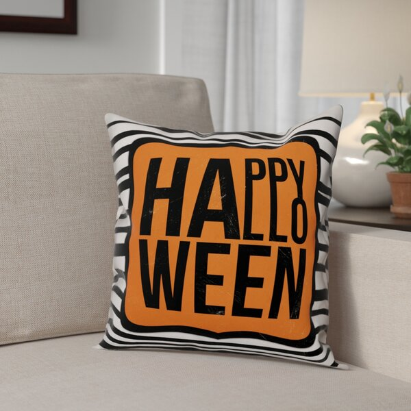 Happy Halloween Stripes Throw Pillow by The Holiday Aisle