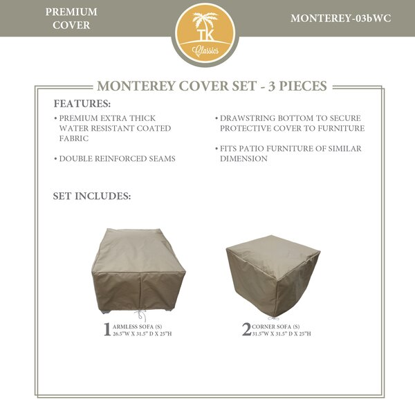 Monterey Protective 3 Piece Water Resistant Patio Furniture Cover Set by TK Classics