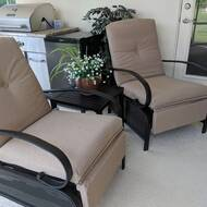 Sandin Adjustable Relaxing Recliner Patio Chair with Cushions and Table