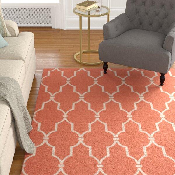 Coyne Orange/White Indoor/Outdoor Area Rug by Alcott Hill