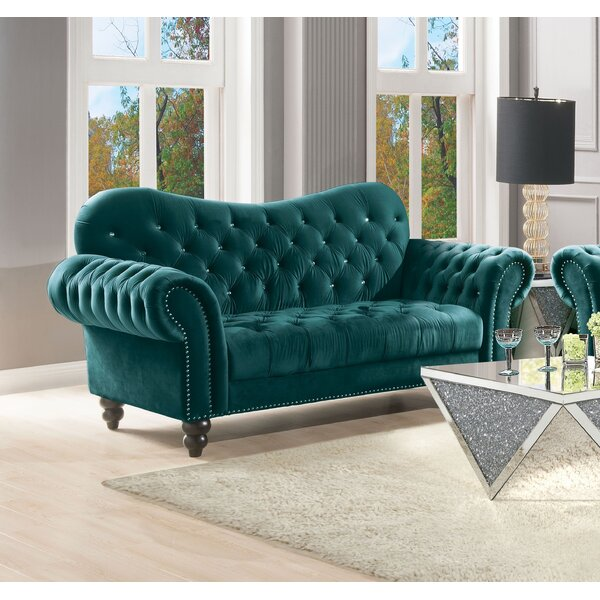 Barb Button Tufted Chesterfield Loveseat by House of Hampton