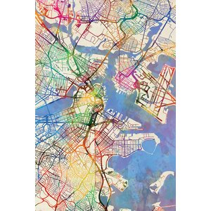 Urban Rainbow Street Map Series: Boston, Massachusetts, USA Graphic Art on Wrapped Canvas by East Urban Home