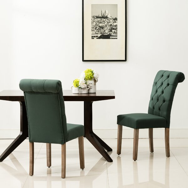 Modern Bushey Roll Top Upholstered Dining Chair (Set Of 2) By Lark Manor Wonderful
