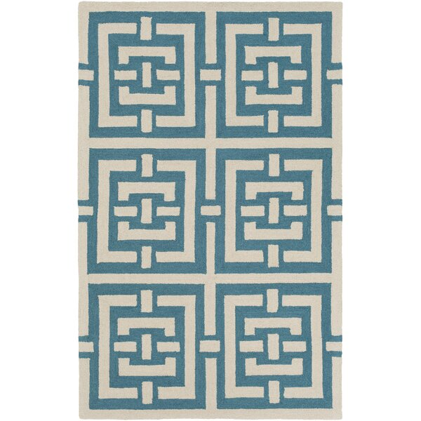Providence Hand-Tufted Teal/Ivory Area Rug by Bay Isle Home