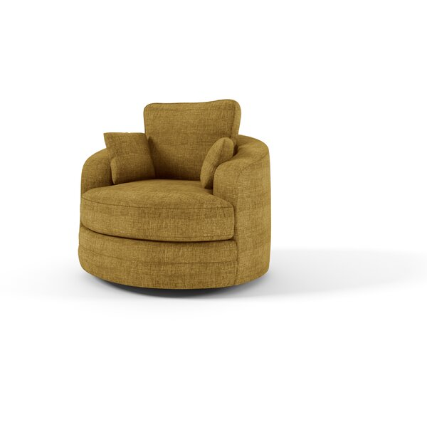 Hunziker Swivel Barrel Chair by Latitude Run