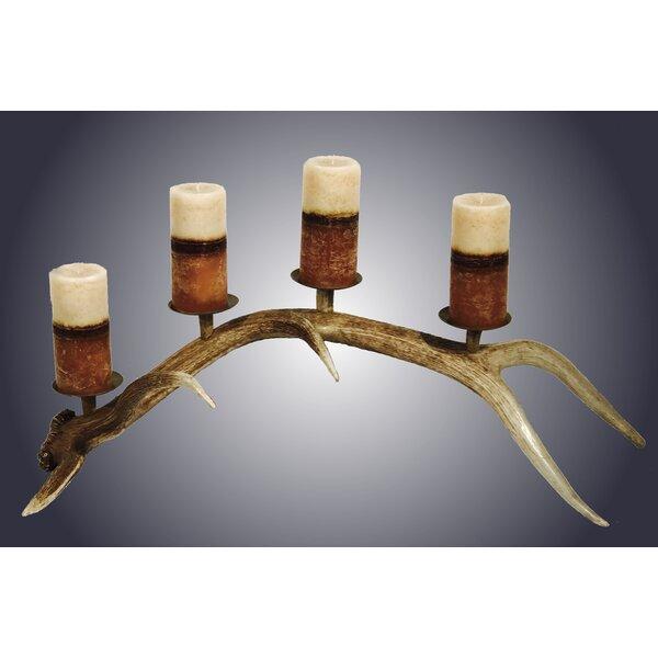 4 Pillar Elk Natural Antler Candelabra by Loon Peak