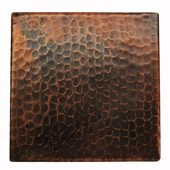 6 x 6 Hammered Copper Tile in Oil Rubbed Bronze by Premier Copper Products