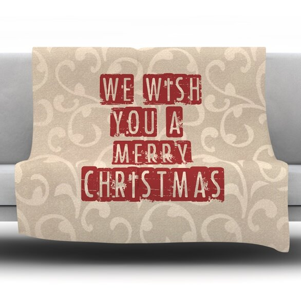 We Wish You a Merry Christmas Fleece Throw Blanket by East Urban Home
