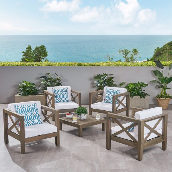 Sklar 5 Piece Multiple Chairs Seating Group with Cushions by Breakwater Bay