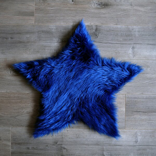 Star Faux Sheepskin Blue Area Rug by Kroma Carpets