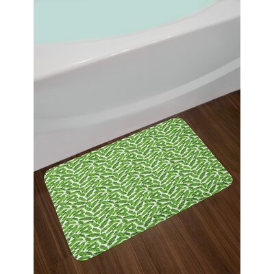 Ambesonne Banana Leaf Bath Mat By Vibrant Foliage From Madagascar Island Lively Green Nature Themed