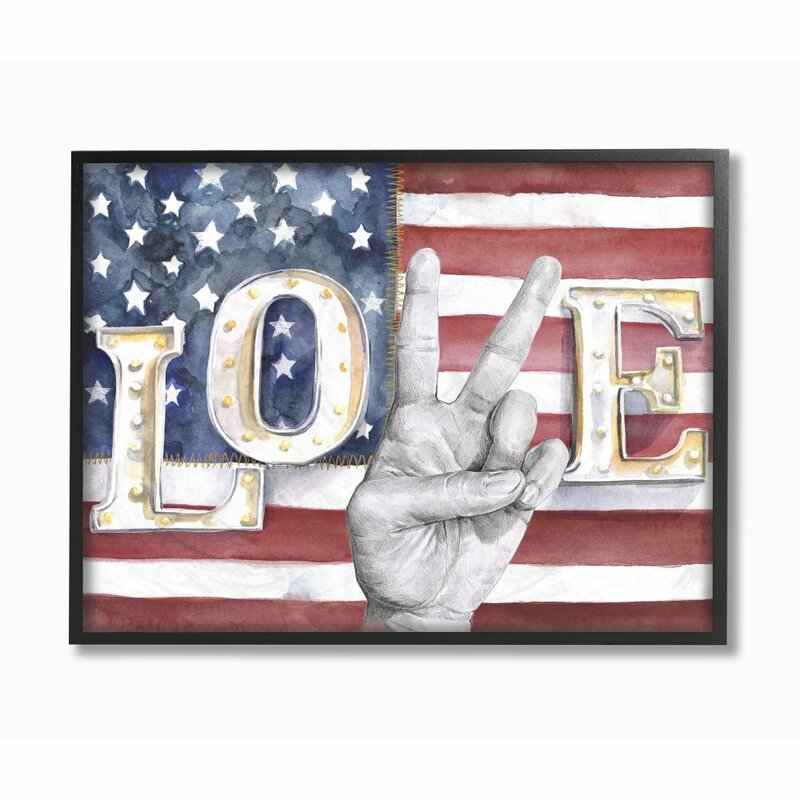 'Love Peace Sign Hand American Flag Design' by Jennifer Paxton Parker - Painting Print